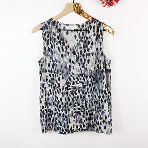 [LOFT] Ruffled V-Neck Dot Print Sleeveless Blouse